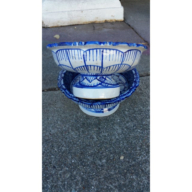 Antique Blue & White Terracotta Bowls- A Pair - Image 4 of 4