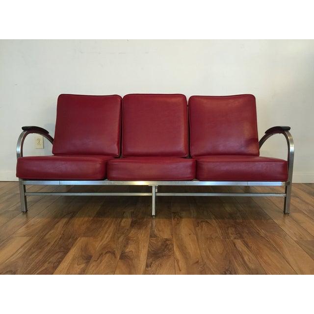 Royal metal art deco style red vinyl sofa chairish for Art deco style sofa