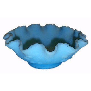 Fenton Blue Satin Glass Ruffled Bowl