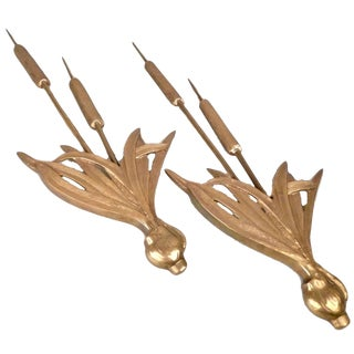 Brass Cattail Wall Plaques - A Pair