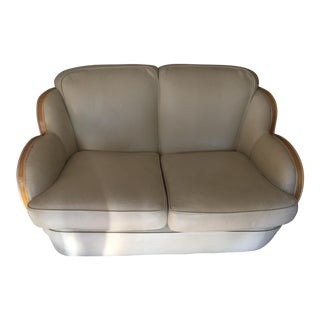 Vintage Art Deco Leather 2-Seater Sofa