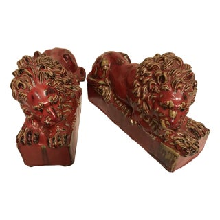 English Pottery Lion Bookends - A Pair