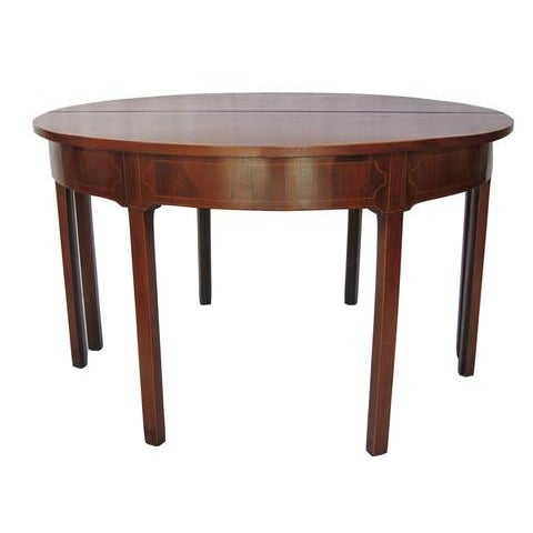 Image of Antique Mahogany Inlaid Demi Lune Tables - A Pair