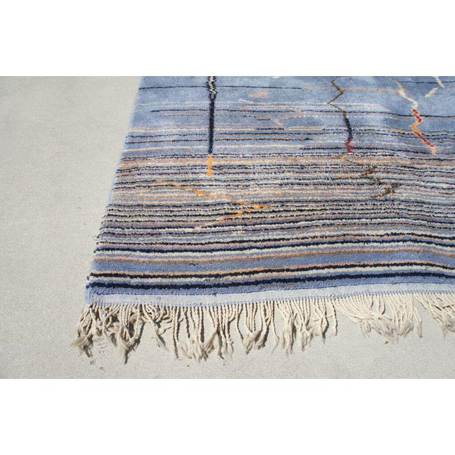"""Moroccan Light Blue Abstract Rug- 6'5"""" x 9' - Image 6 of 7"""