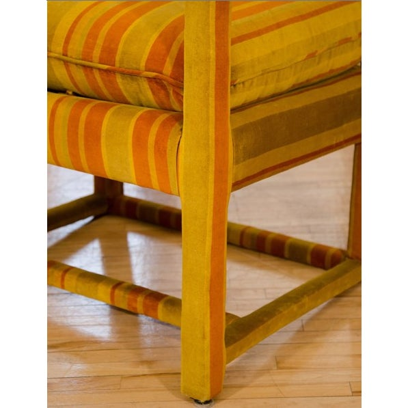 Mid-Century Orange Striped Velvet Armchairs - Pair - Image 7 of 10