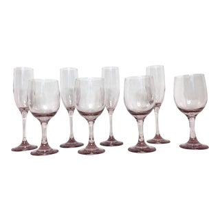 Vintage Lavender Champagne and Wine Glasses - Set of 8