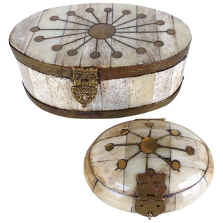 Oval Bone & Brass Trinket Boxes - A Pair