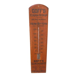 "19thc ""Goff's Cough Syrup "" Original Salmon & Black Painted Thermometer"