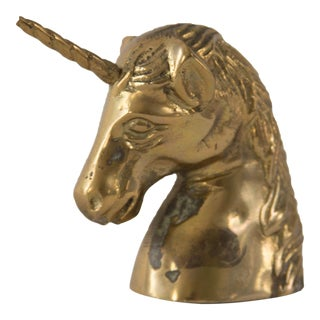 Vintage Brass Unicorn Head Figurine
