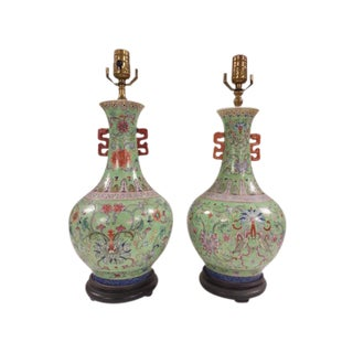 Chinese Dragon Design Porcelain Vase Lamps - A Pair