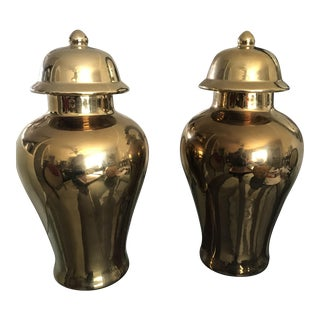Large Gilded Gold Ceramic Ginger Jars - Pair