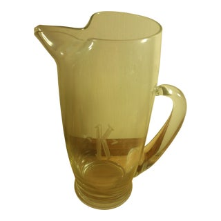"""K"" Monogrammed Clear Glass Beer Pitcher"