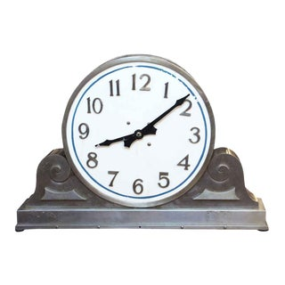 Vintage Stainless Steel & Milk Glass Face Clock