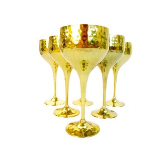 Gold Plated Hammered Brass Goblets - Set of 6