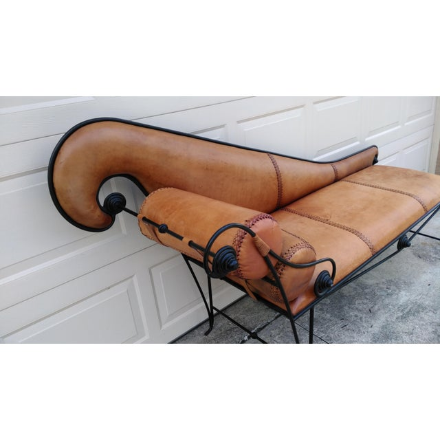 Whimsical Wrought Iron & Leather Daybed - Image 3 of 5