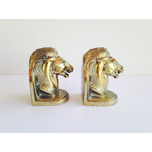 Brass Horse Head Bookends - Image 3 of 4