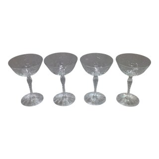 Antique Cut Crystal Champagne Coupe Glasses - S/4