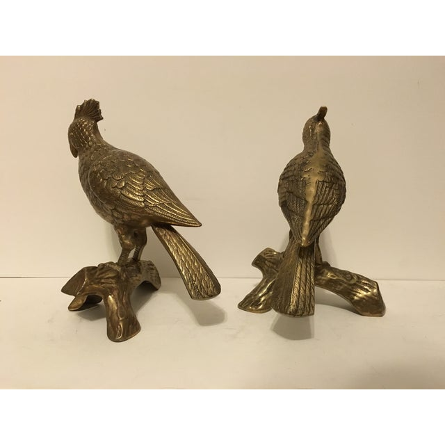 Image of Brass Cockatoo Figurines - A Pair