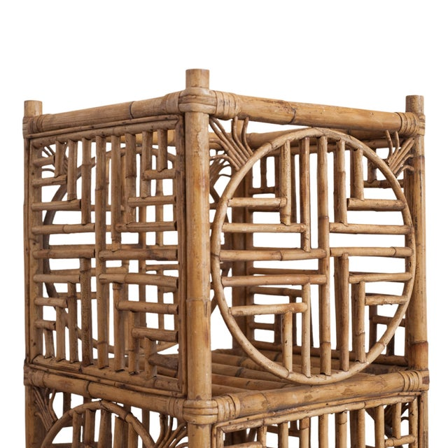Image of Vintage Hollywood Regency bamboo plant stand