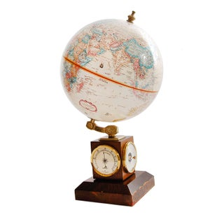 Ship Captain's Globe on Wood Stand W/ 3 Dials