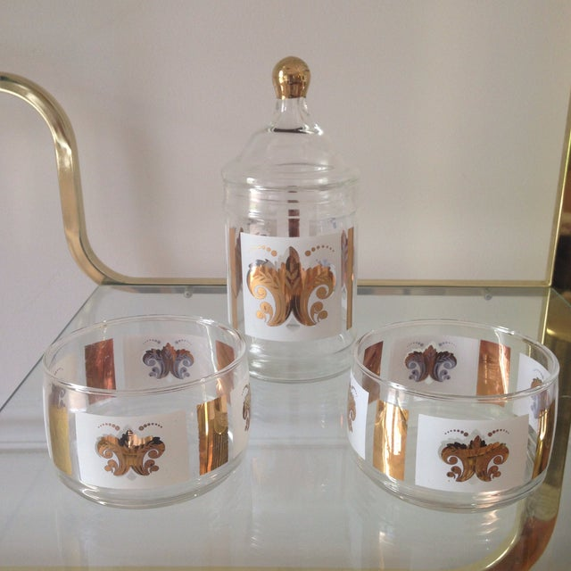 Vintage Fleur De Lis Jar and Bowl Set - Image 2 of 4