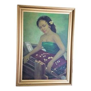 Mid-Century Indonesian Woman Weaving Original Oil Painting
