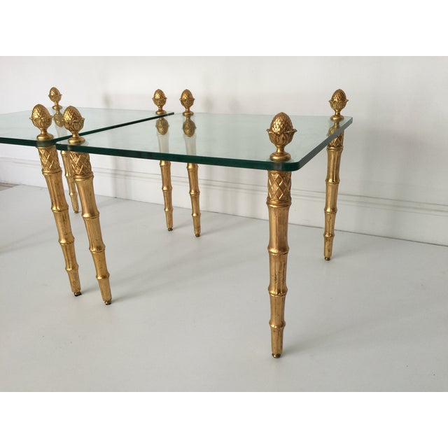 Faux Bamboo Pineapple Gilt Side Tables - A Pair - Image 3 of 5