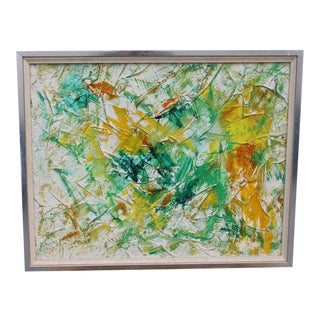 1970's Oil on Canvas Beautiful Abstract Painting