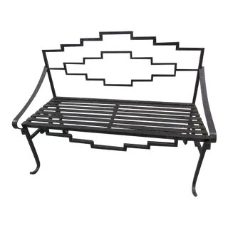Mid-Century Cast Iron Black Bench
