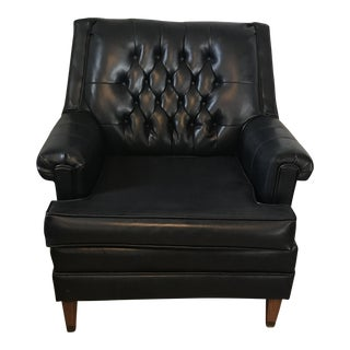 Mid-Century Tufted Black Leather Lounge Chair
