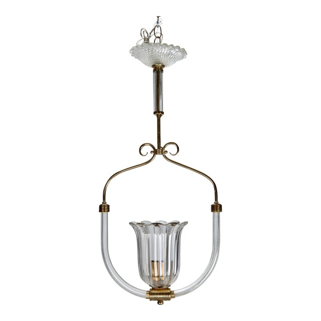 Image of Barovier and Toso Art Deco Era Glass and Brass Pendant Fixture