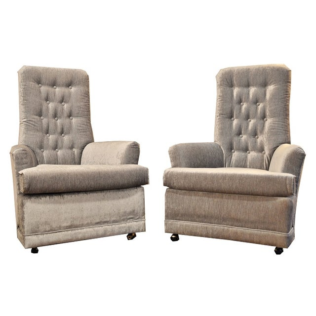 Mid Century Velvet Tufted High-Back Chairs - Pair - Image 1 of 8