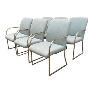 Vintage Milo Baughman Style Brass Dining Chairs - Set of 6