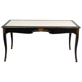 Maison Jansen Regency Style Ebonized & Gilt Leathertop Desk