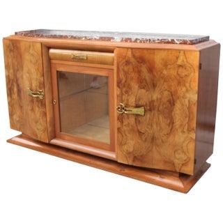 French Art Deco Walnut & Marble Sideboard