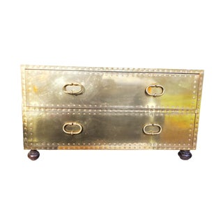 Sarreid Brass Two Drawer Chest Coffee Table