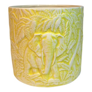 Vintage Ceramic Planter with Elephant Motif