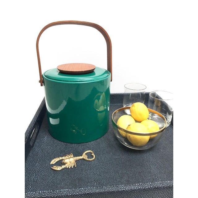 Georges Briard Green Vinyl And Wood Ice Bucket Chairish