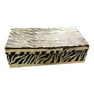 African Carved Zebra Pattern Wood Box