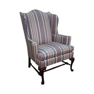 Hickory Chair Solid Mahogany Queen Anne Wing Chair