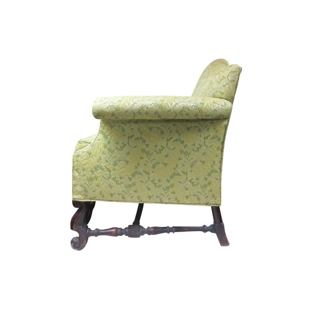 Image of Lime Green Loveseat on Carved Stretchers