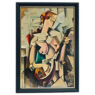 Art Deco Cubist Musician Oil Painting