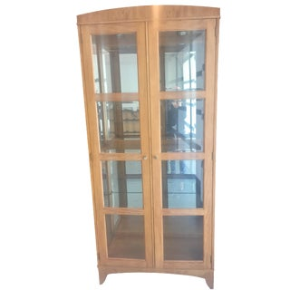 Ethan Allen Transitional Lighted Maple Curio Cabinet