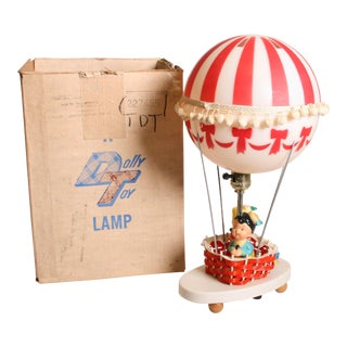 Mid Century Whimsical Hot Air Balloon Nursery Lamp