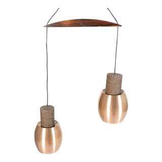 Danish Modern Copper & Rosewood Double Pendant