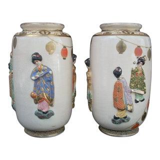 Satsuma Japanese Geisha Vases - A Pair