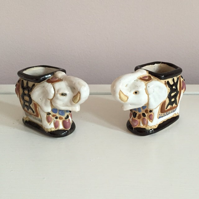 Mini Elephant Ceramic Containers - a Pair - Image 2 of 9