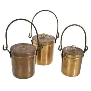 Vintage Copper Pails With Lids - Set of 3