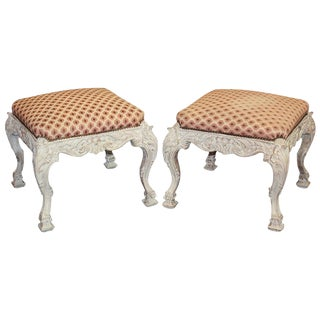 Pair of English Carved & Painted Stools