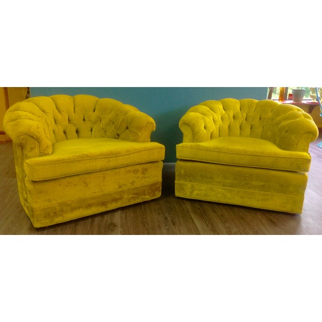 Mid-Century Tufted Chartreuse Club Chairs - A Pair - Image 7 of 8
